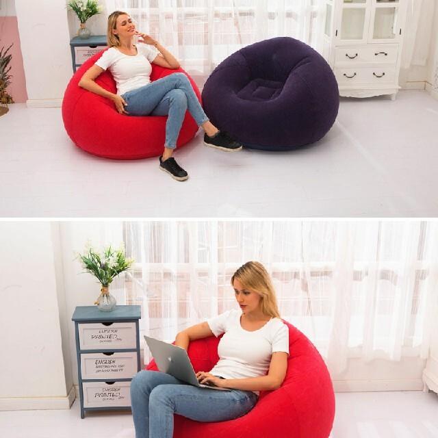 エアソファー インフレータブル ソファ オットマン 荷重力80KG チェア 椅子 インテリア/住まい/日用品のソファ/ソファベッド(オットマン)の商品写真