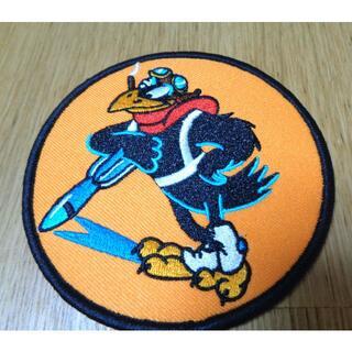 VC橙◆新品アメリカ軍米軍空軍 カラス 喫煙鴉パイロット 刺繍ワッペン(パッチ)(その他)