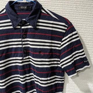バーバリーブラックレーベル(BURBERRY BLACK LABEL)のバーバリー ブラックレーベル ロゴ ボーダー ポロシャツ ネイビー(ポロシャツ)
