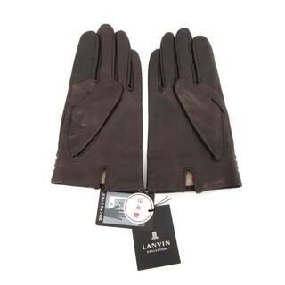 ランバン(LANVIN)のランバン LANVIN 手袋 スマホ対応 ラムレザー ウール カシミヤ 茶 ブラ(手袋)