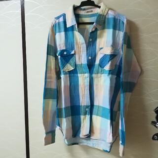 青チェック★シャツ(シャツ/ブラウス(長袖/七分))