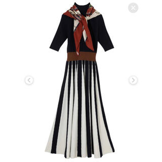 エイミーイストワール(eimy istoire)のスカーフ付き リブニットワンピース(ロングワンピース/マキシワンピース)