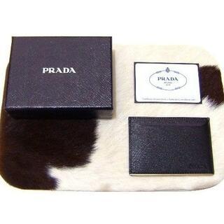 プラダ(PRADA)のプラダカードケース名刺入れサファイアーノメタル黒新品S79パスケース(名刺入れ/定期入れ)