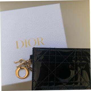 クリスチャンディオール(Christian Dior)のレディディオール カードケース パスケース 定期入れ 黒(名刺入れ/定期入れ)