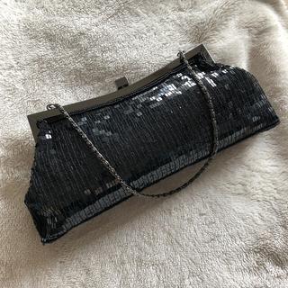 ROPE ブラック スパンコール チェーン付き クラッチバッグ(クラッチバッグ)