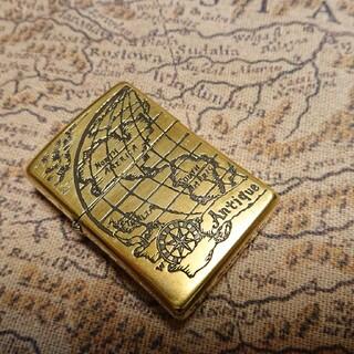 ジッポー(ZIPPO)のセール!ZIPPO 世界地図 両面仕様 真鍮ブラスゴールド WORLD MAP(タバコグッズ)