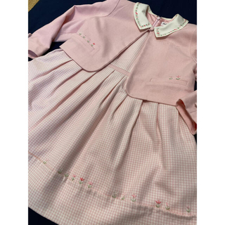 ポンポネット(pom ponette)の入学式に桜色のワンピースとボレロ 120cm(ドレス/フォーマル)