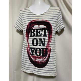 マックスシックス(max six)のmaxsix マックスシックス  唇 リップ ボーダーTシャツ カットソー(Tシャツ/カットソー(半袖/袖なし))