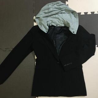 イマージュ(IMAGE)の黒ブラック ジャケット 11号 フード付(テーラードジャケット)
