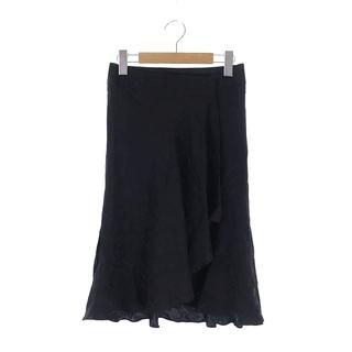 バーバリー(BURBERRY)のバーバリー BURBERRY ラップスカート ひざ丈 チェック シルク 36 黒(その他)