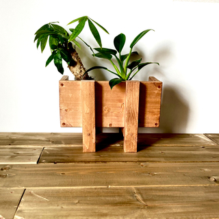 プランター スタンド おしゃれ 木製 フラワーラック タブレット収納 ミニ 茶(プランター)