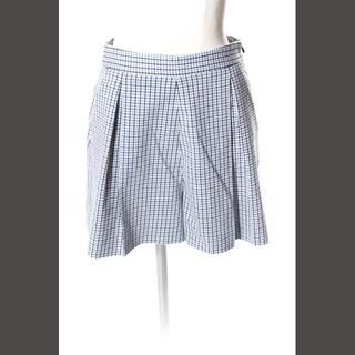 ミュウミュウ(miumiu)のミュウミュウ miumiu パンツ ショート チェック ウール混 36 青 ブル(ショートパンツ)