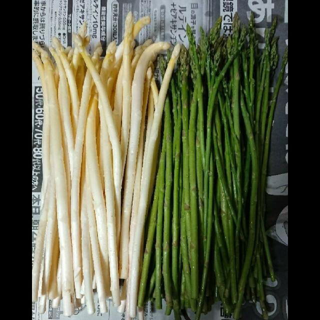(ちいちゃん様専用)佐賀県産極細ホワイト&グリーンアスパラ1.5キロ(訳あり) 食品/飲料/酒の食品(野菜)の商品写真