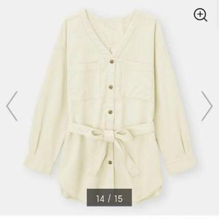 ジーユー(GU)のオーバーサイズシャツジャケット(ノーカラージャケット)
