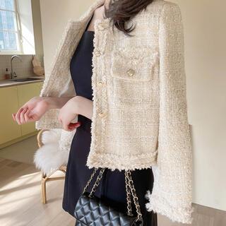スタイルナンダ(STYLENANDA)の【予約商品】《3カラー 》ツイードジャケット 韓国ファッション 春服(ノーカラージャケット)