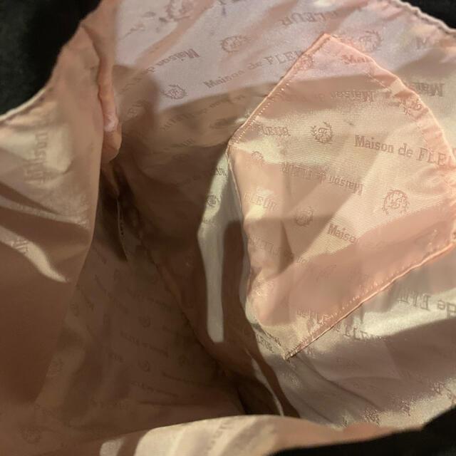 Maison de FLEUR(メゾンドフルール)のメゾンドフルール トートバッグ 黒 ブラック レース バッグ ピンク リボン レディースのバッグ(トートバッグ)の商品写真
