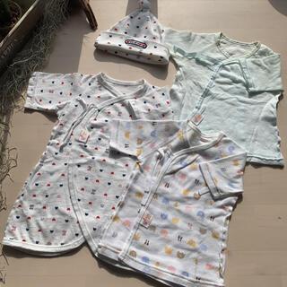 《新生児セット》赤ちゃんの城 短肌着 コンビ肌着セット 50~60(肌着/下着)