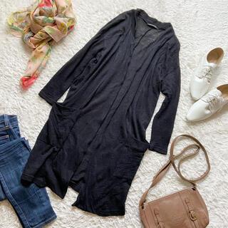 ミズイロインド  ロングカーディガン 薄手ウール 日本製 黒 ブラック 羽織り(カーディガン)