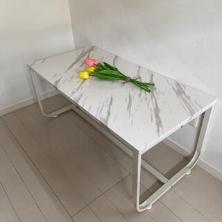 リビングテーブル 韓国 ローテーブル 大理石風(ローテーブル)