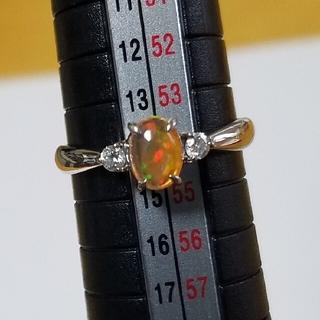 ファイアオパール、ダイヤプラチナリング(リング(指輪))