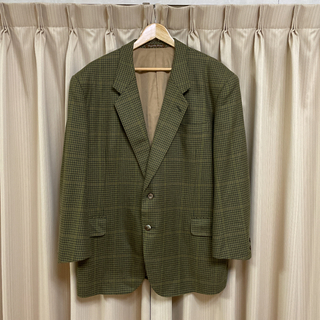 プラダ(PRADA)の古着 Vintage テーラードジャケット 千鳥柄 グリーン オーバーサイズ(テーラードジャケット)