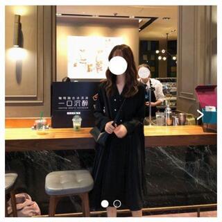 プリーツワンピース ブラック(ひざ丈ワンピース)