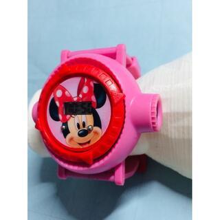ディズニー(Disney)のC17)珍品(*'▽')ディズニー・ミニー投影機付き・電池交換済みデジタル腕時計(腕時計(デジタル))
