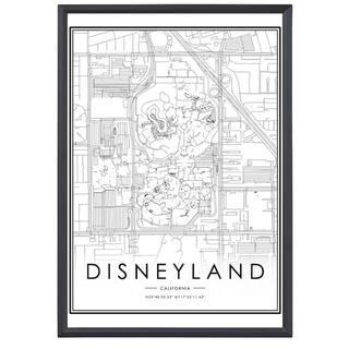 ポスター 062 フレーム付 地図 ディズニーランド USA 白黒(その他)