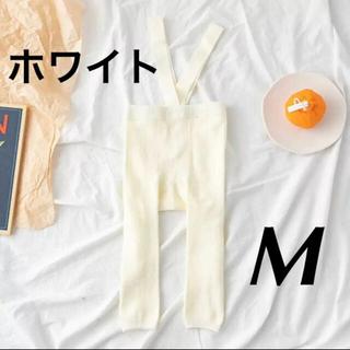 サスペンダー付きレギンス フットレス ホワイト Mサイズ(靴下/タイツ)