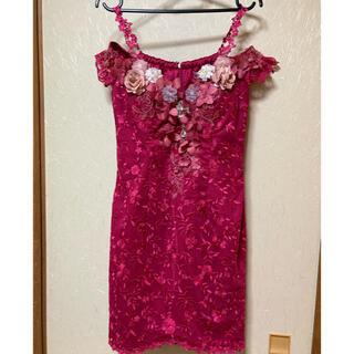 エンジェルアール(AngelR)の[ROBE de FLEURS] 立体フラワーモチーフ×オフショルタイトドレス(ミニドレス)