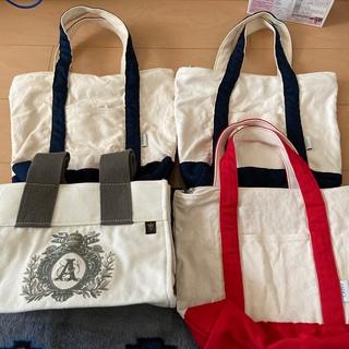 ファンケル(FANCL)の4個セット エコバッグと【ファンケル】トートバッグ/エコバッグ/白・紺色 赤色(エコバッグ)