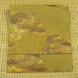 渋い黄色に幾何学模様 名古屋帯(帯)