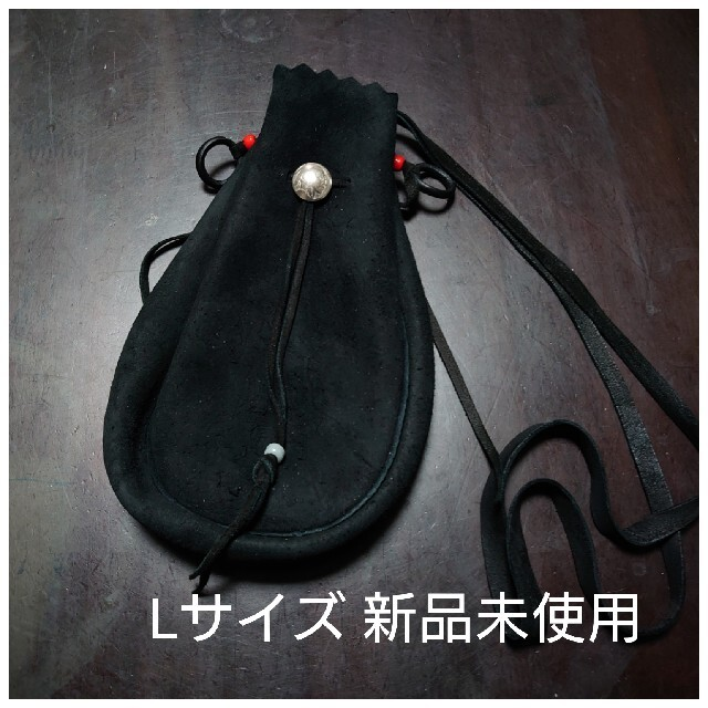 goro's(ゴローズ)のゴローズ 巾着バッグ 黒 BLACK ブラック 巾着ポーチ L  新品未使用 メンズのバッグ(ショルダーバッグ)の商品写真