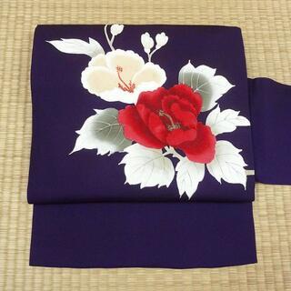 濃い紫色に紅白の花 名古屋帯(帯)