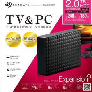 エレコム(ELECOM)のSGD-NZ020UBK 外付けHDD ブラック [据え置き型 /2TB](テレビ)