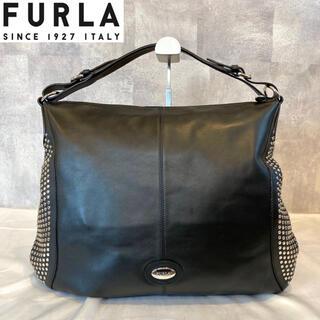 フルラ(Furla)の【FURLA】フルラ 希少 ブラック レザー ショルダーバッグ スタッズ(ショルダーバッグ)
