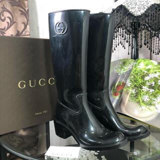 グッチ(Gucci)のGUCCI レインブーツ ブラック 24cm(レインブーツ/長靴)