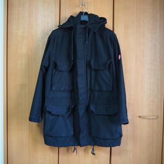シュプリーム(Supreme)のC.E 着脱可能キルティングライナー付き バックプリント コート 黒 L(モッズコート)