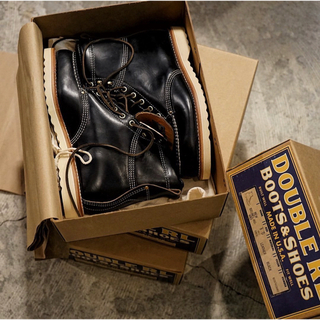 ダブルアールエル(RRL)の新作 新品 RRL ワークブーツ ブルネルレザー レッドウィング 黒(ブーツ)