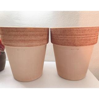 2個 イタリア製 テラコッタ 植木鉢 鉢 ポット プランター イタリア製 丸 中(プランター)