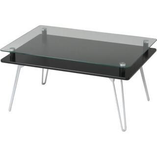 ガラステーブル/ディスプレイテーブル/ローテーブル 幅70cm ブラック(ローテーブル)
