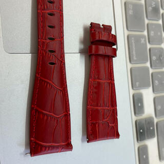 ガガミラノ(GaGa MILANO)の新品 GaGa MILANO ガガミラノバンド ベルト 48ミリ用 赤色(レザーベルト)