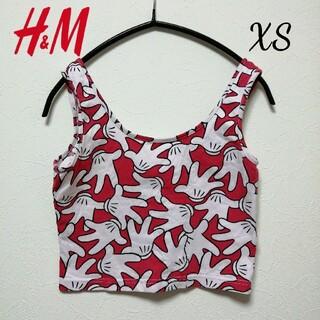 H&M - XSショート丈タンクトップ ミッキーマウス