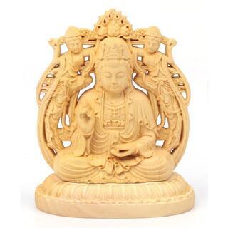 mrc46 木彫り 仏像 観音菩薩 両面彫刻 1点&護身符 金カード 1枚(彫刻/オブジェ)