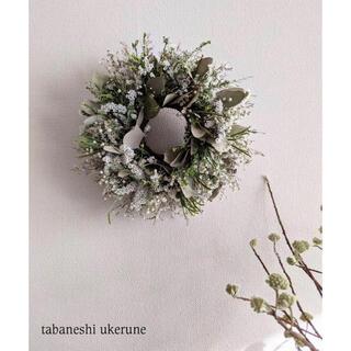 純白の霞草やブルーファンダジアを紡いだ アンティーク リース  ドライフラワー(ドライフラワー)