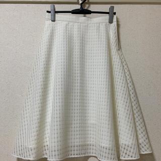 ラウンジドレス(Loungedress)のラウンジドレス チェックフレアスカート   ホワイト(ひざ丈スカート)