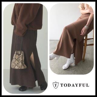 トゥデイフル(TODAYFUL)の未使用◆ TODAYFUL グリッターニットスカート 38(ロングスカート)