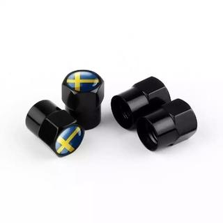 ボルボ アルミエアバルブキャップ ブラックとシルバーがあります。スウェーデン柄(車外アクセサリ)