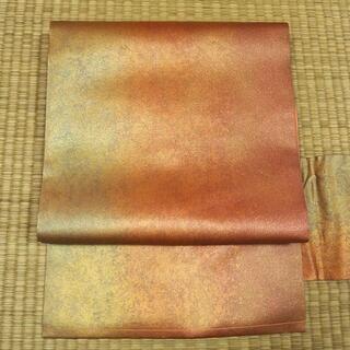 朱華色に金糸織り 名古屋帯(帯)