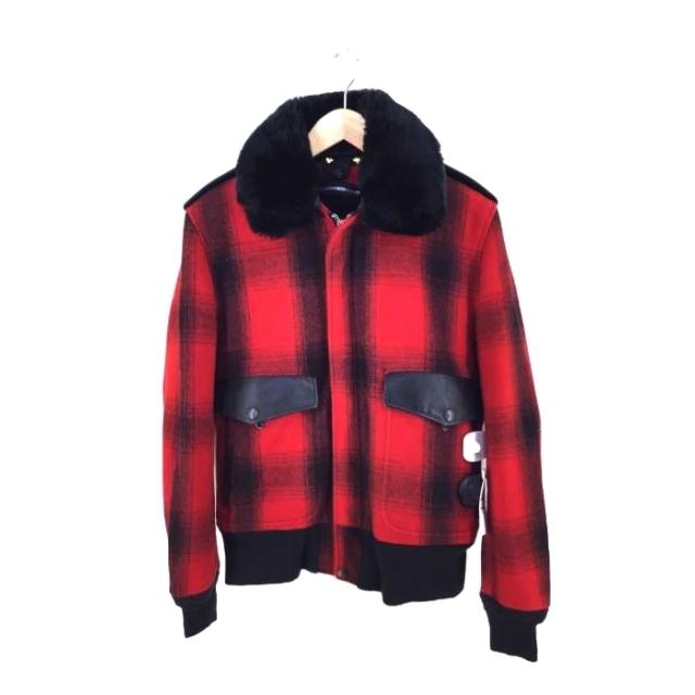 schott(ショット)のSchott(ショット) オンブレチェック ファーライナーブルゾジャケット メンズのジャケット/アウター(ブルゾン)の商品写真